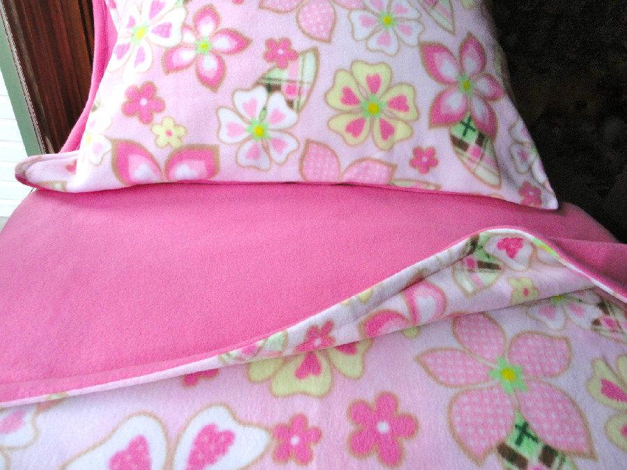 Girls bed set handmade fleece pink flower power for girls fits crib